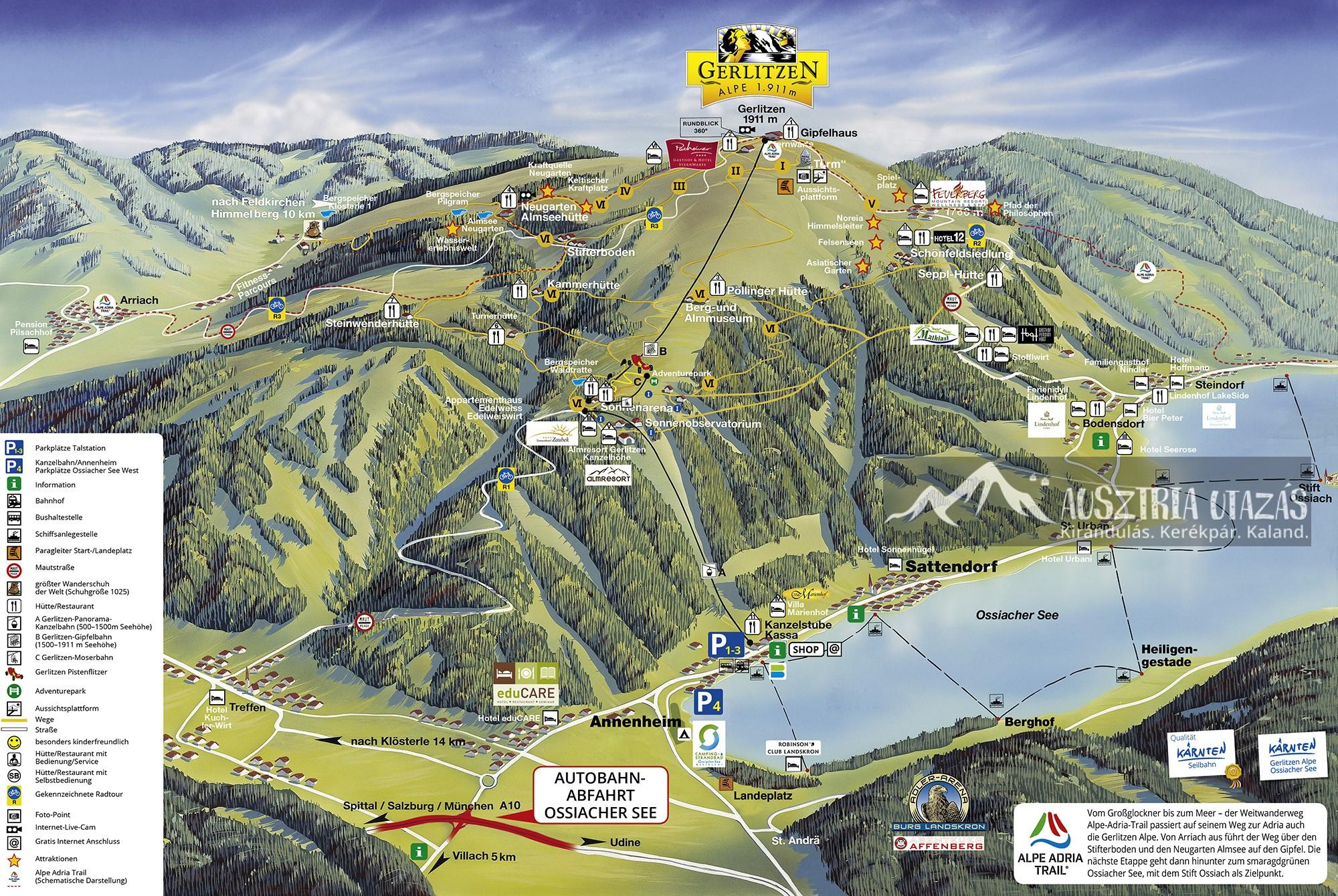 Gerlitzen nyári felvonók és térkép
